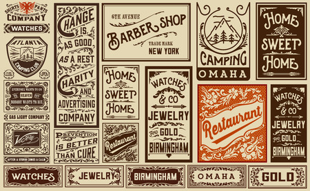 Photo for mega pack old advertisement designs and labels - Vintage illustration - Royalty Free Image