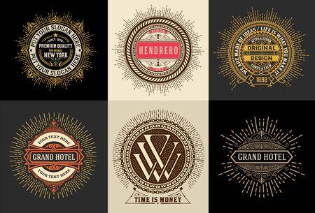 Illustration pour Vintage template, Hotel, Restaurant, Business or Boutique Identity. Design with Flourishes Elegant Design Elements.Vector - image libre de droit