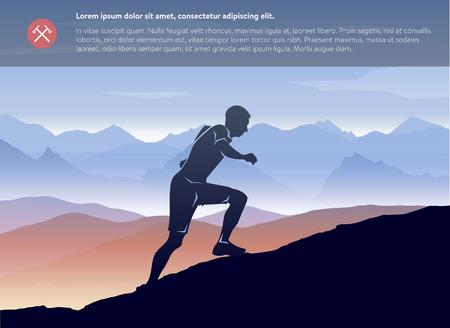 Illustration pour Sport running man in cross mountain landscape template. Vector layered - image libre de droit