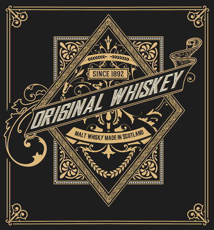 Photo for Whiskey label with old frames. Vector layered - Royalty Free Image