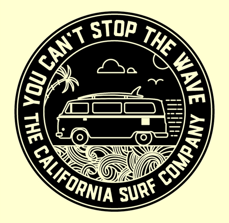 Photo pour Surf label with van and surf elements - image libre de droit