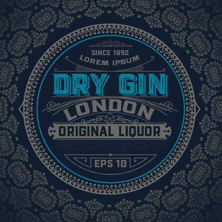 Illustration for Gin label with floral ornaments - Royalty Free Image