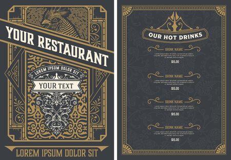 Illustration pour Vintage restaurant menu design template. Vector layered. - image libre de droit
