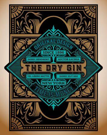 Illustration pour Vintage Gin label template. Vector layered - image libre de droit