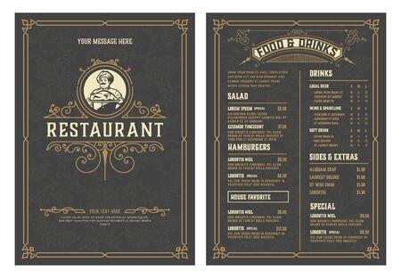 Illustration pour Antique  template for  restaurant menu design with Chef illustration. Vector layered. - image libre de droit