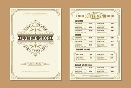 Illustration pour Coffee shop logo with Coffee menu design brochure template. vintage typographic decoration elements. Vector layered - image libre de droit