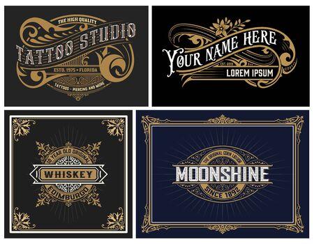 Illustration pour Set of 4 vintage Logos. Vector layered - image libre de droit
