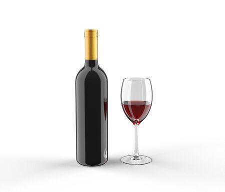 Photo pour wine bottle and glass mockup - image libre de droit