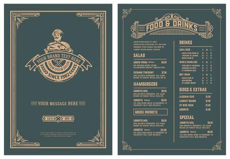Illustration pour Vintage template for  restaurant menu design. Vector layered. - image libre de droit