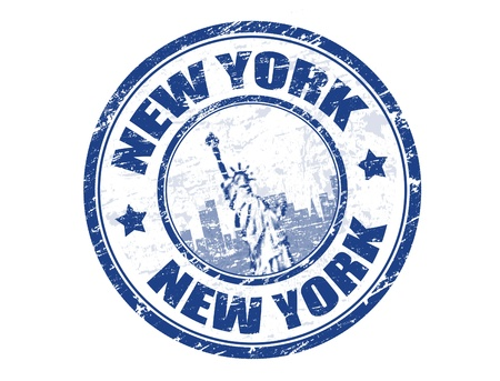 Grunge rubber stamp with Statue of Liberty and the word New York inside illustration