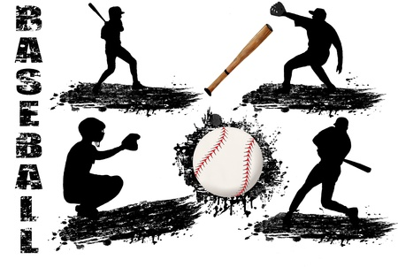 Baseball player silhouettes on white background illustration