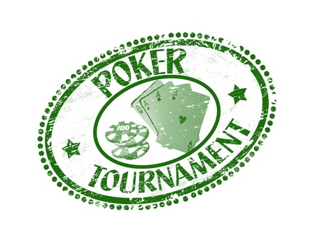 Green grunge rubber stamp with poker cards, chips and the text poker tournament written inside the stamp