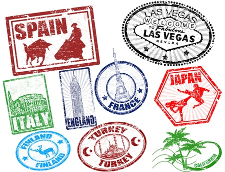 Foto de Set of stylized grunge travel stamps illustration - Imagen libre de derechos