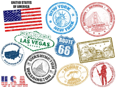 Photo for Set of grunge stamps with United States of America, vector illustration - Royalty Free Image