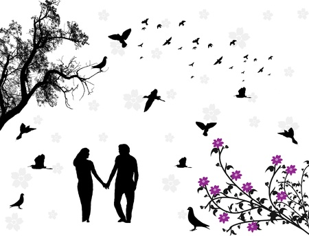 Couple in a park with flowers and birds. Vector illustration