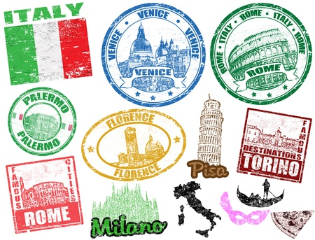 Set of grunge stamps with Italy, vector illustration