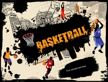 Urban grunge basketball background, vector illustration