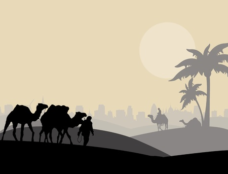 Camels and bedouin in arabic landscape, vector illustration