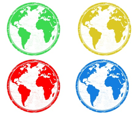 Stamps with colored earth globes over white