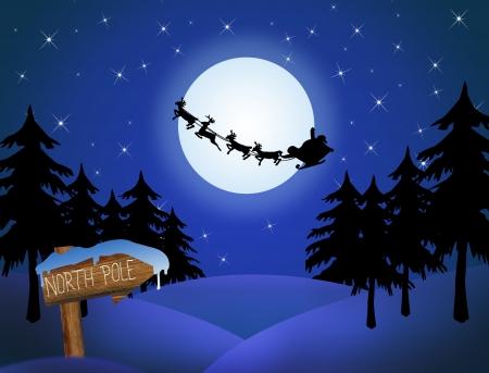 Santa's sleigh in front of the moon and wood sign with North Pole,