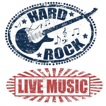 Two stamps with live music and hard rock written inside vector illustration