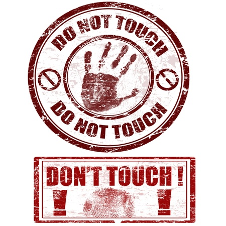Grunge rubber stamps with hand print with do not touch - don't touch, vector illustration