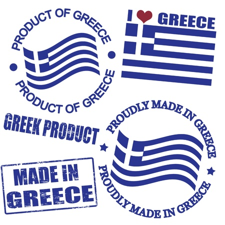 Set of stamps and labels with the text made in Greece written inside