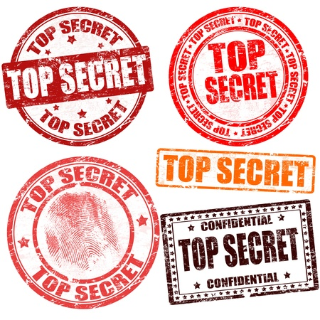 Top secret grunge stamp collection on white background, vector illustration