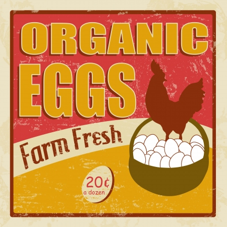 Organic eggs vintage retro grunge poster illustrator