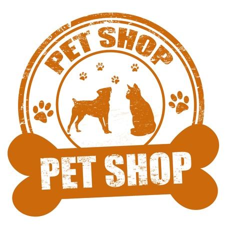 Pet shop grunge rubber stamp on white, illustration
