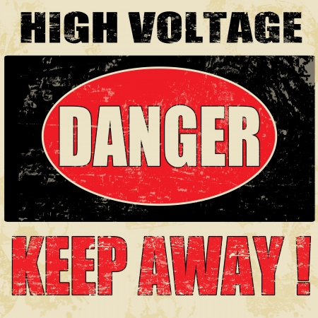Danger High Voltage vintage grunge poster, vector illustrator