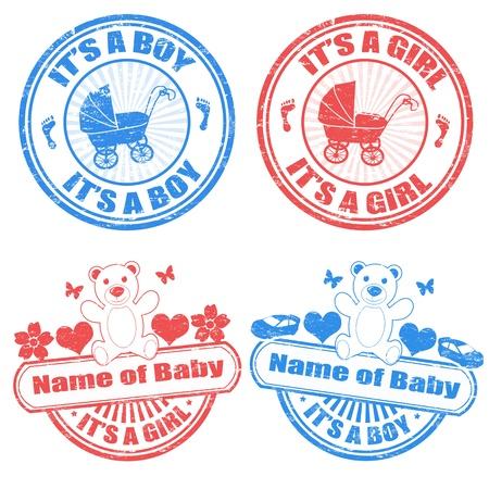 Illustration pour Set of grunge baby boy and baby girl rubber stamps, illustration - image libre de droit