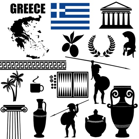 Traditional symbols of Greece on white background