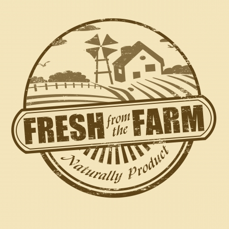 Fresh from the farm product grunge rubber stamp, vector illustration