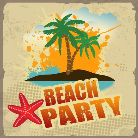 Tropical beach party poster with splash and palms on vintage style,  illustration