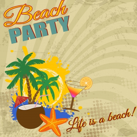 Vintage Beach Party poster on retro style, illustration