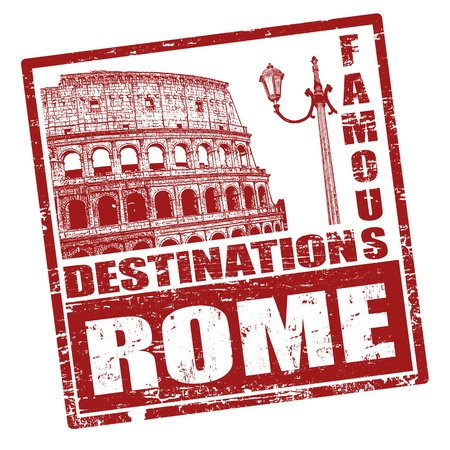 Grunge rubber stamp with Colosseum shape and the word Rome written inside