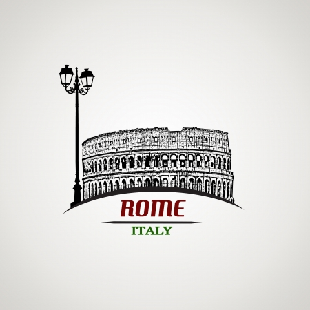 Rome in vintage style poster, illustration