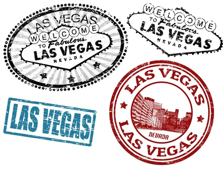 Set of stylized grunge stamps of the Las Vegas, vector illustration