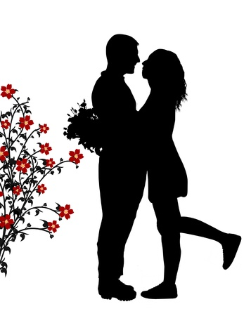 Romantic couple silhouette embrace in love, vector illustration