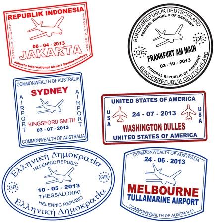 Passport grunge stamps from Jakarta, Sydney, Tessaloniki, Frankfurt, Washington and Melbourne, vector illustration