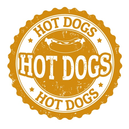 Hot Dog vintage sign on white background, vector illustration