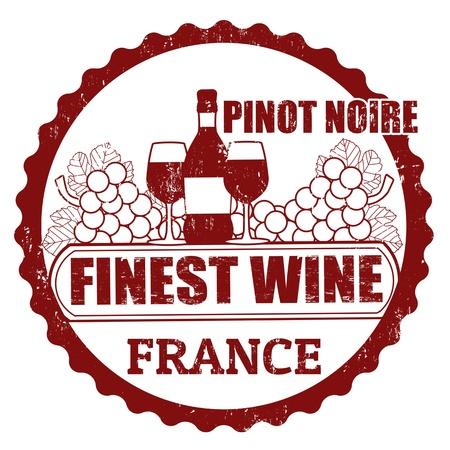 Fine Wines, Pinot Noir, France grunge rubber stamp on white, vector illustration