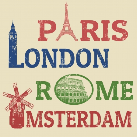 Paris,London,Rome and Amsterdam grunge stamps, famous landmarks Eiffel Tower, Big Ben, Colosseum and Windmill