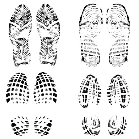 Illustration for Set of four pairs of shoes print on white, vector illustration - Royalty Free Image