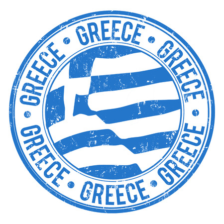 Grunge rubber stamp with Greek Flag and the word Greece written inside, vector illustration