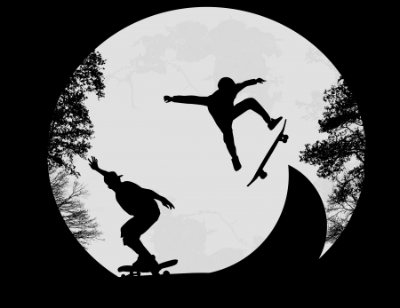 Silhouette of a skateboarders doing a flip trick at the skate park