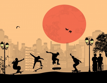 Skater silhouettes in front of city landscape vector background