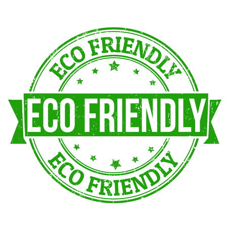 Eco friendly grunge rubber stamp on white, vector illustration