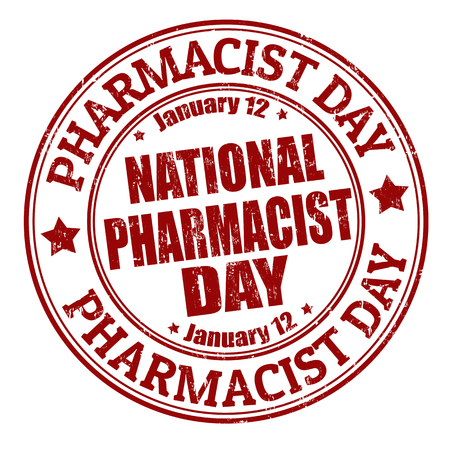 National pharmacist day grunge rubber stamp illustration